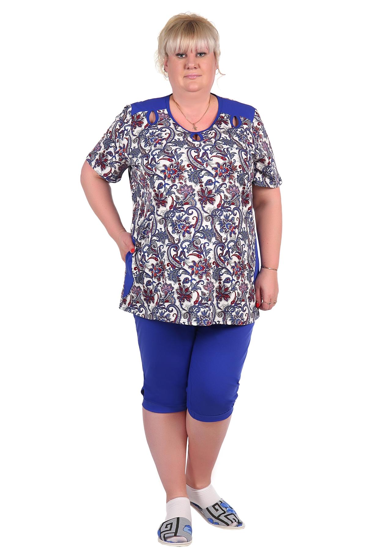 Жен. костюм арт. 16-0126 Синий р. 72Костюмы<br><br><br>Тип: Жен. костюм<br>Размер: 72<br>Материал: Кулирка