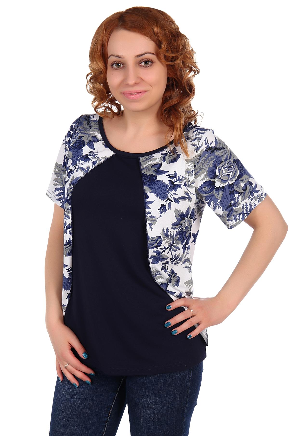 Жен. блуза арт. 16-0105 Синий р. 54Блузы<br>Факт. ОГ: 104 см <br>Факт. ОТ: 104 см <br>Факт. ОБ: 112 см <br>Длина по спинке: 64 см<br><br>Тип: Жен. блуза<br>Размер: 54<br>Материал: Вискоза
