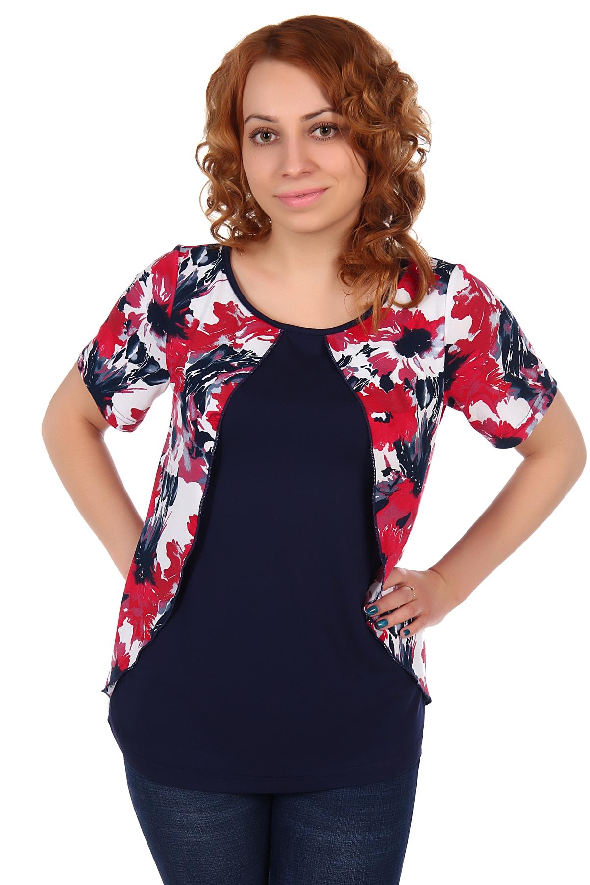 Жен. блуза арт. 16-0105 Красный р. 56Блузы<br>Факт. ОГ: 108 см <br>Факт. ОТ: 108 см <br>Факт. ОБ: 116 см <br>Длина по спинке: 66 см<br><br>Тип: Жен. блуза<br>Размер: 56<br>Материал: Вискоза