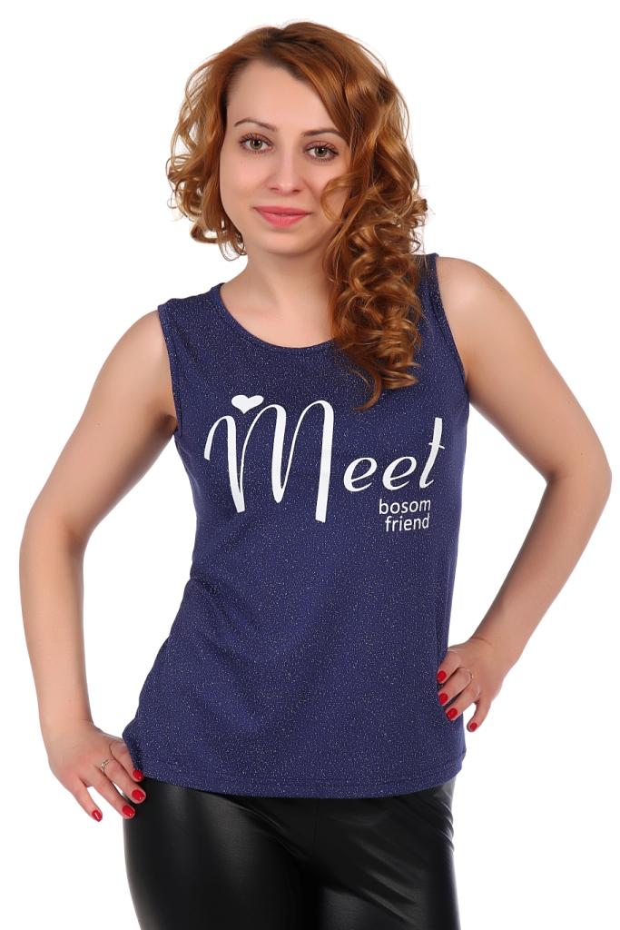 Жен. блуза арт. 16-0316 Темно-синий р. 50Блузы<br>Факт. ОГ: 90 см <br>Факт. ОТ: 90 см <br>Факт. ОБ: 104 см <br>Длина по спинке: 64 см<br><br>Тип: Жен. блуза<br>Размер: 50<br>Материал: Вискоза