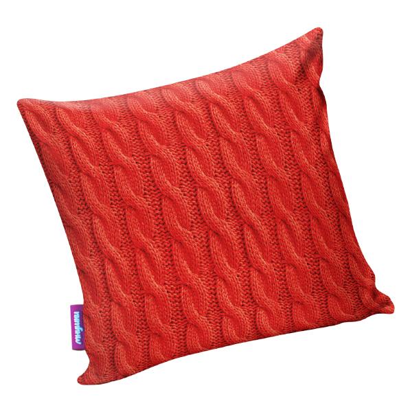 Подушка Вязанные косы Красный р. 35х35Подушки интерьерные<br>Чехол: На молнии<br><br>Тип: Подушка<br>Размер: 35х35<br>Материал: Атлас