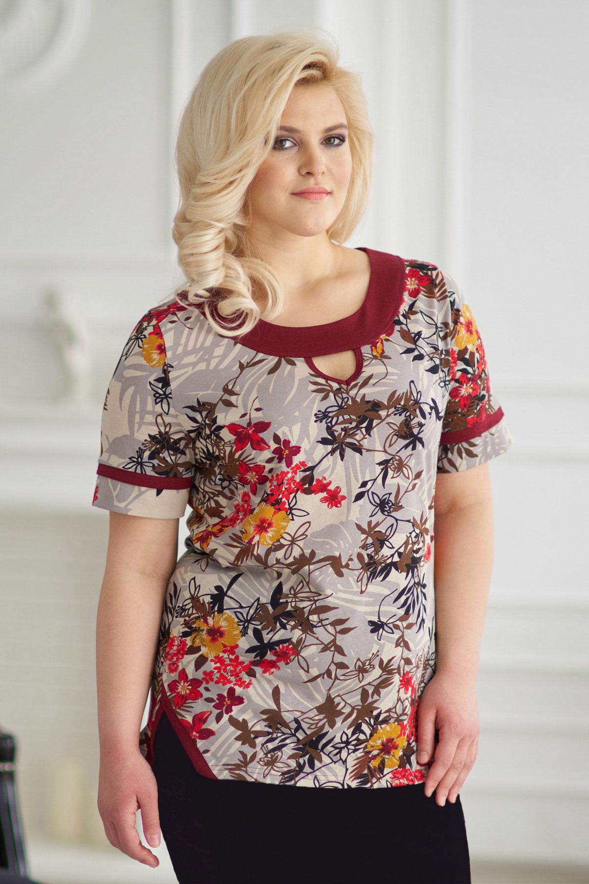 где купить Жен. блуза арт. 19-0146 Бордо р. 52 по лучшей цене