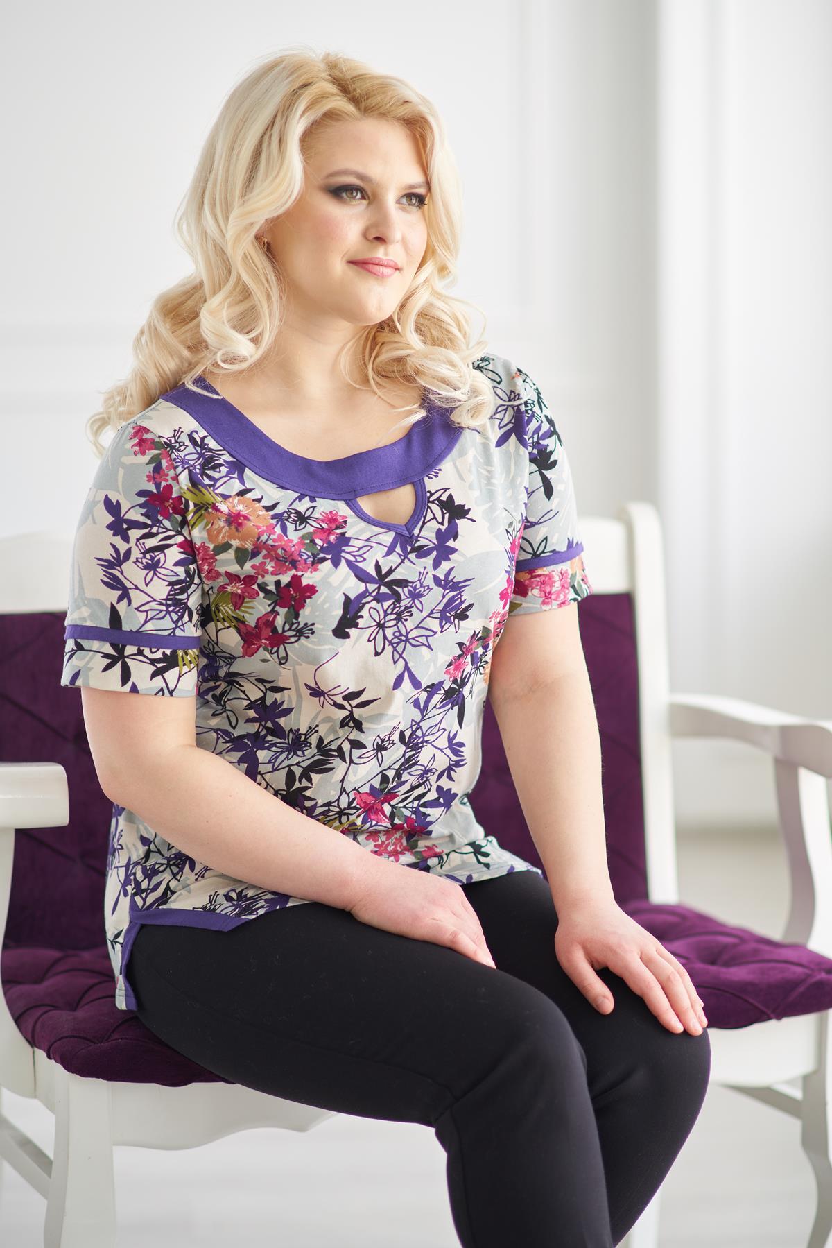 Жен. блуза арт. 19-0146 Фиолетовый р. 60Майки и футболки<br>Факт. обхваты: Будут добавлены в ближайшее время<br><br>Тип: Жен. блуза<br>Размер: 60<br>Материал: Кулирка