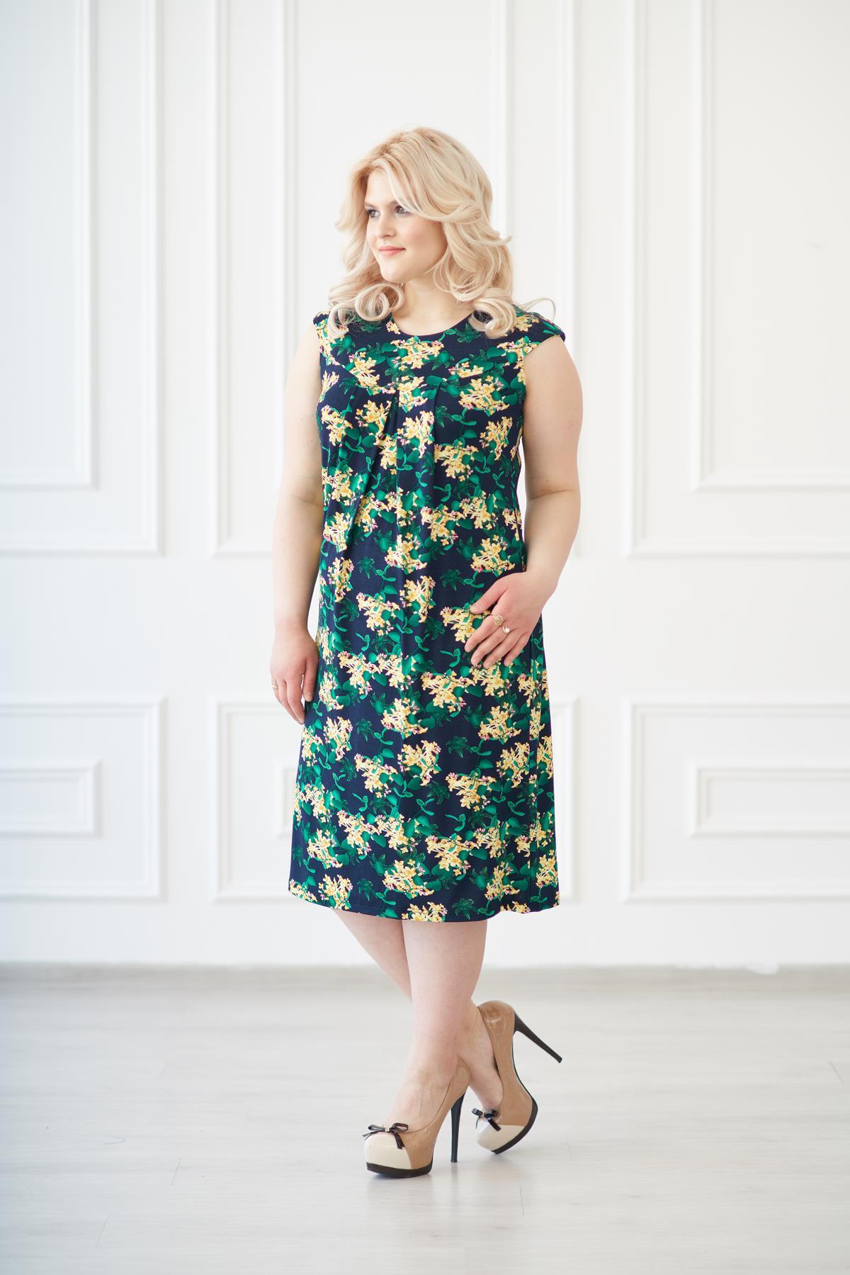 Жен. платье арт. 19-0138 Желто-изумрудный р. 48Платья<br>Факт. ОГ: 92 см <br>Факт. ОТ: 92 см <br>Факт. ОБ: 106 см <br>Длина по спинке: 98 см<br><br>Тип: Жен. платье<br>Размер: 48<br>Материал: Вискоза