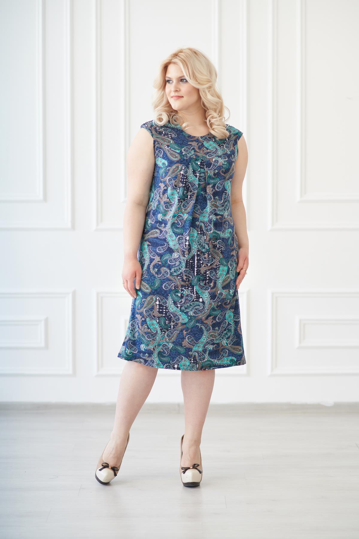 Жен. платье арт. 19-0138 Огурцы р. 48Платья<br>Факт. ОГ: 92 см <br>Факт. ОТ: 92 см <br>Факт. ОБ: 106 см <br>Длина по спинке: 98 см<br><br>Тип: Жен. платье<br>Размер: 48<br>Материал: Вискоза
