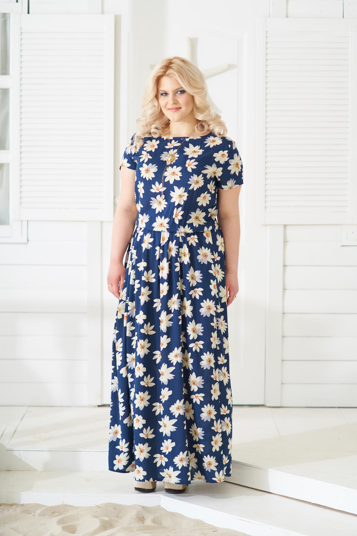 Жен. платье арт. 19-0140 Ромашки р. 52Платья<br>Факт. обхваты: Будут добавлены в ближайшее время<br><br>Тип: Жен. платье<br>Размер: 52<br>Материал: Штапель