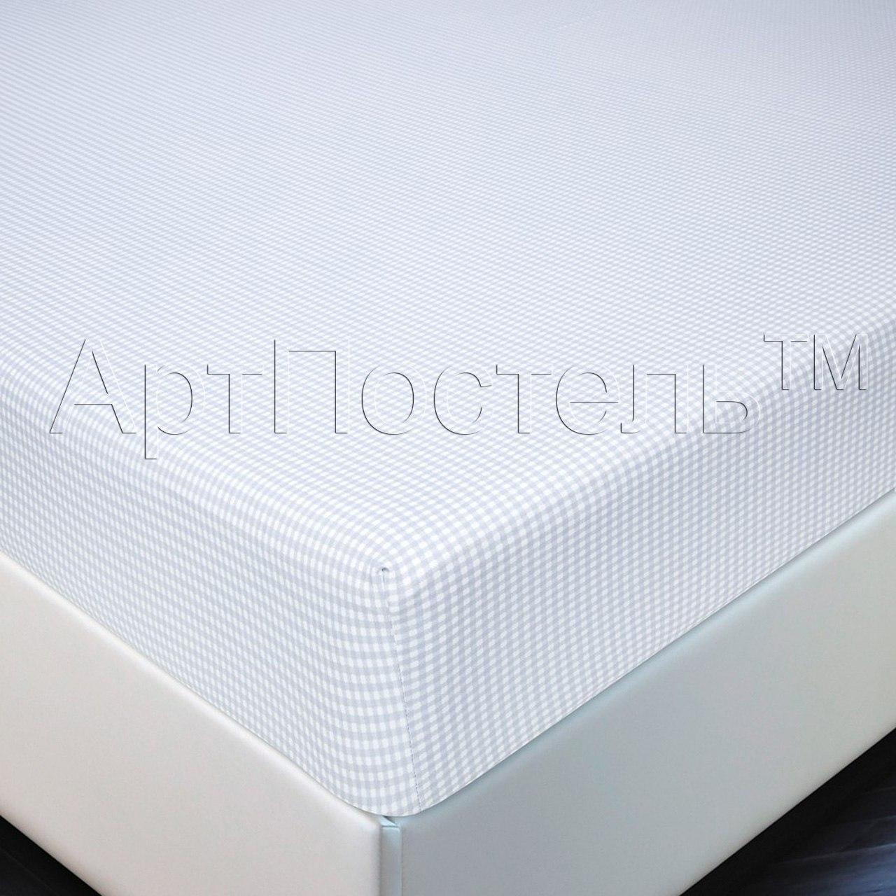 Простыня на резинке Клетка р. 160х200Простыни<br>Плотность ткани: 140 г/кв. м<br><br>Тип: Простыня на резинке<br>Размер: 160х200<br>Материал: Кулирка