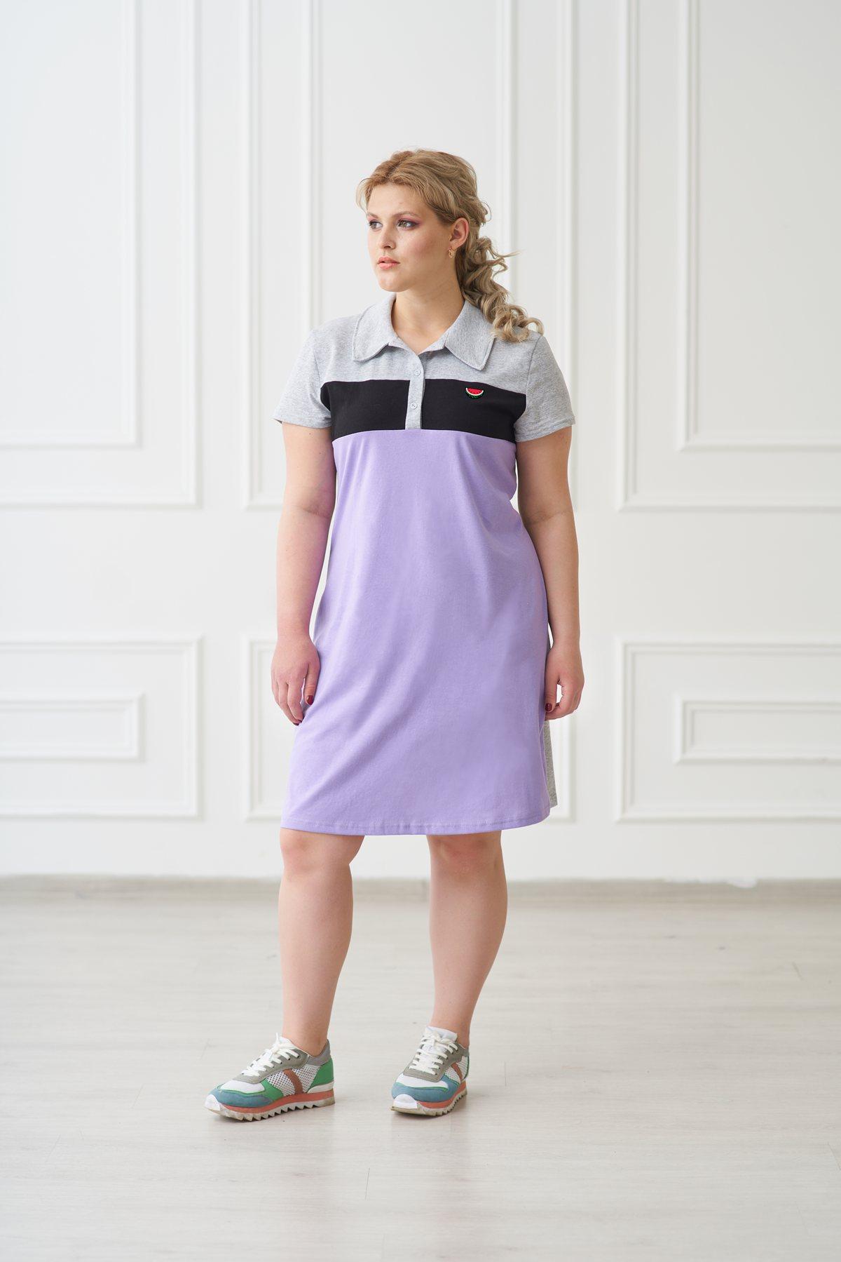 Жен. платье арт. 19-0157 Сирень р. 50Платья<br>Факт. ОГ: 100 см <br>Факт. ОТ: 98 см <br>Факт. ОБ: 104 см <br>Длина по спинке: 94 см<br><br>Тип: Жен. платье<br>Размер: 50<br>Материал: Трикотаж