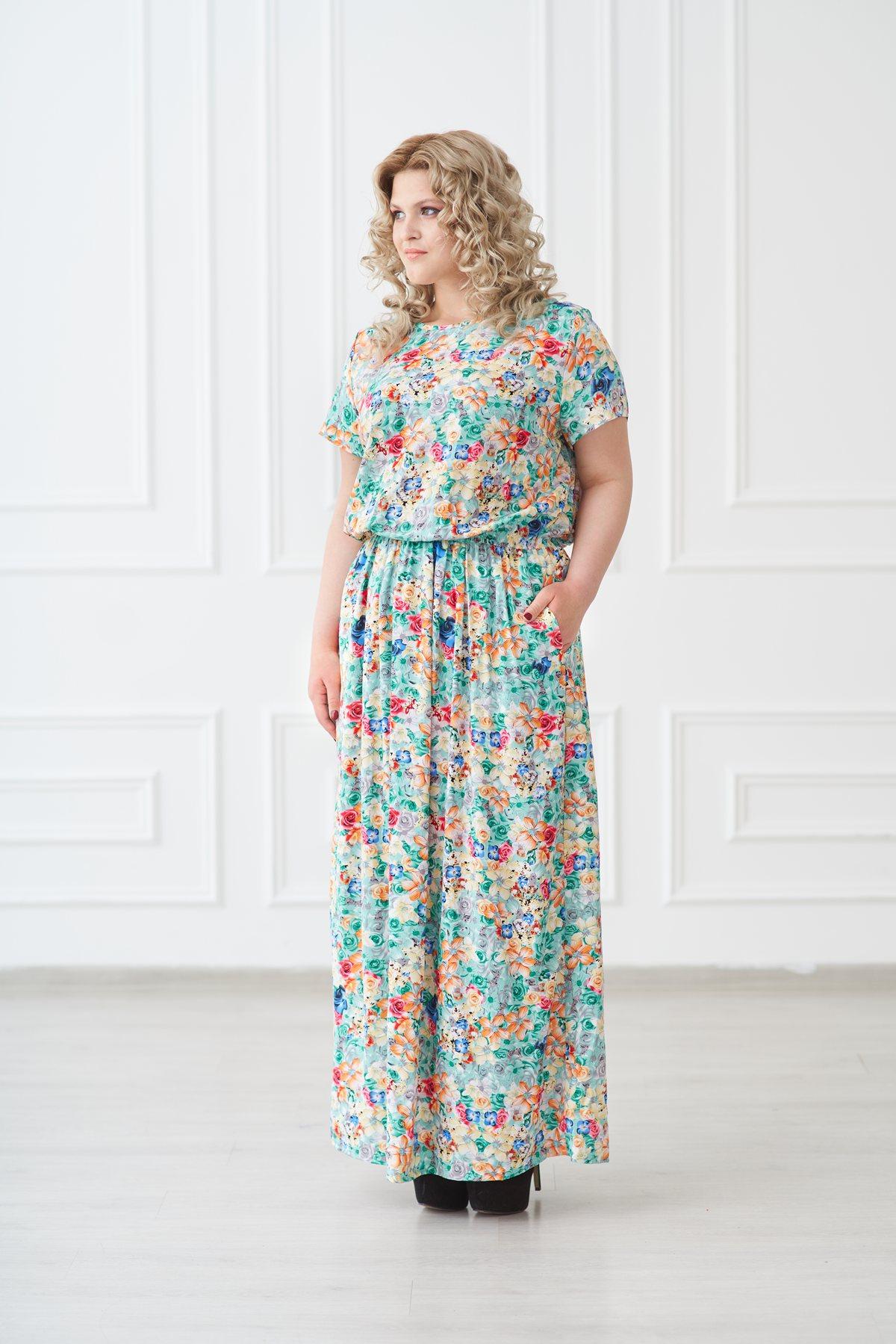 Жен. платье арт. 19-0140 Ментол р. 50Платья<br>Факт. ОГ: 110 см <br>Факт. ОТ: 78 см <br>Факт. ОБ: 138 см <br>Длина по спинке: 145 см<br><br>Тип: Жен. платье<br>Размер: 50<br>Материал: Штапель