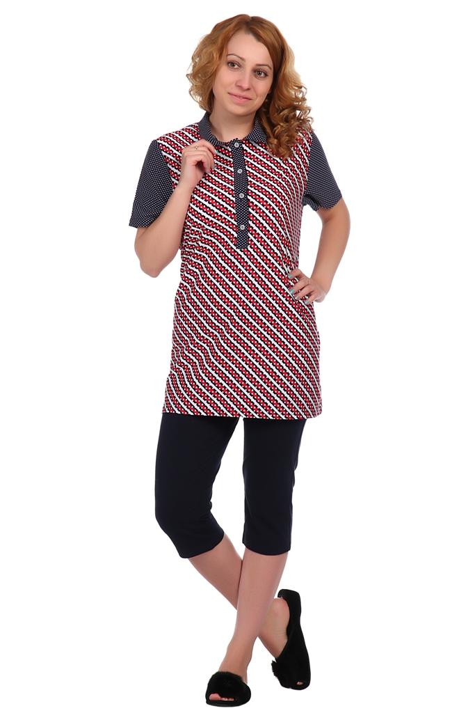 Жен. блуза арт. 16-0346 Красный р. 56Блузы<br>Факт. ОГ: 120 см <br>Факт. ОТ: 116 см <br>Факт. ОБ: 120 см <br>Длина по спинке: 77 см<br><br>Тип: Жен. блуза<br>Размер: 56<br>Материал: Кулирка