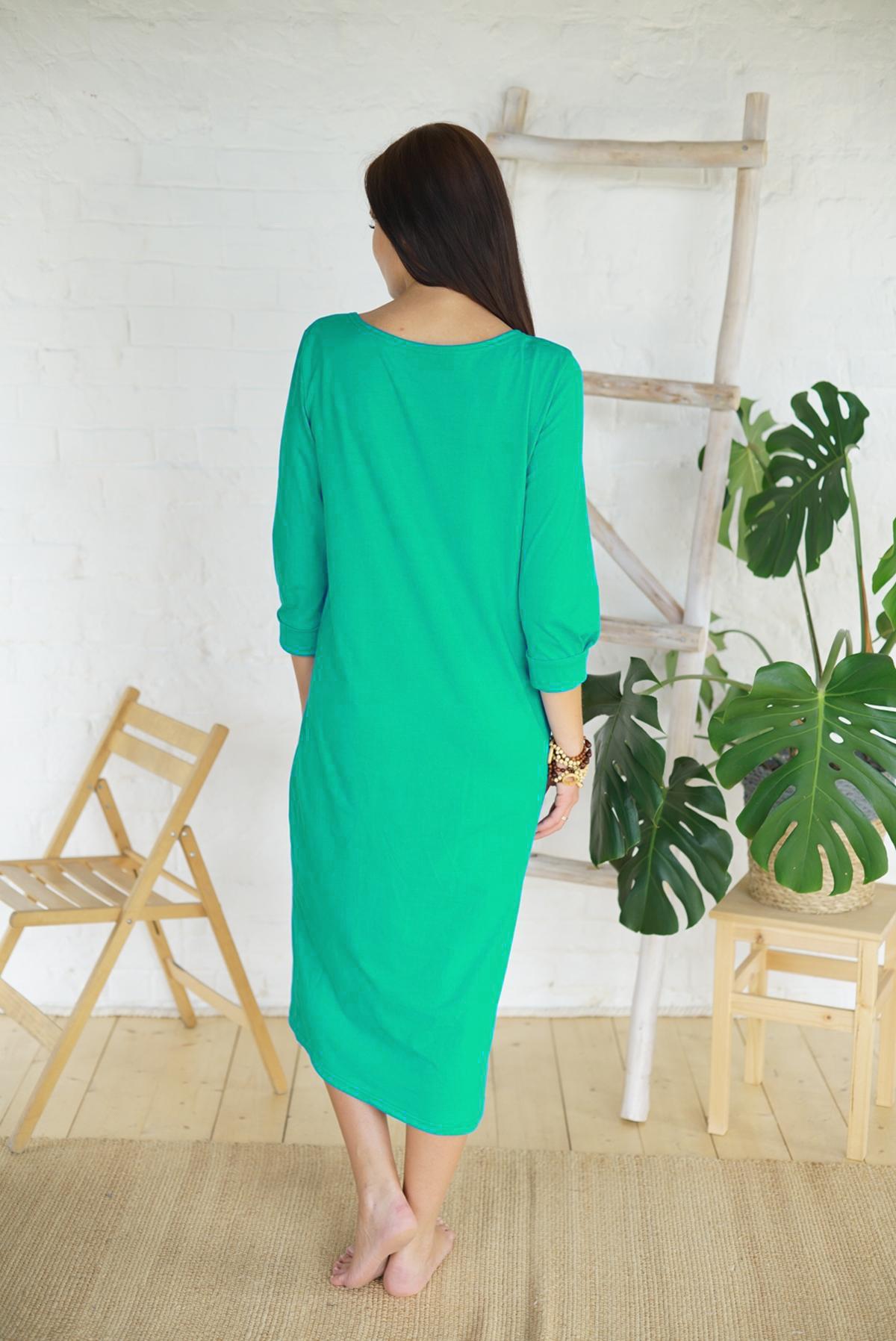 Жен. платье арт. 19-0168 изумрудный р. 48