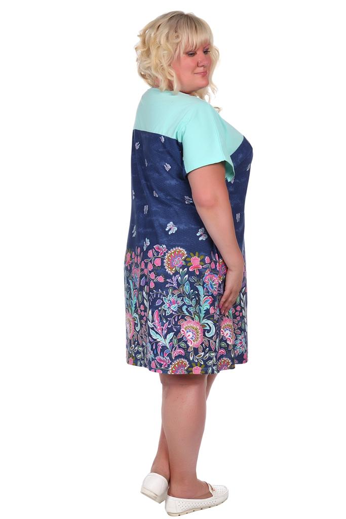 Жен. платье арт. 16-0387 синий р. 68