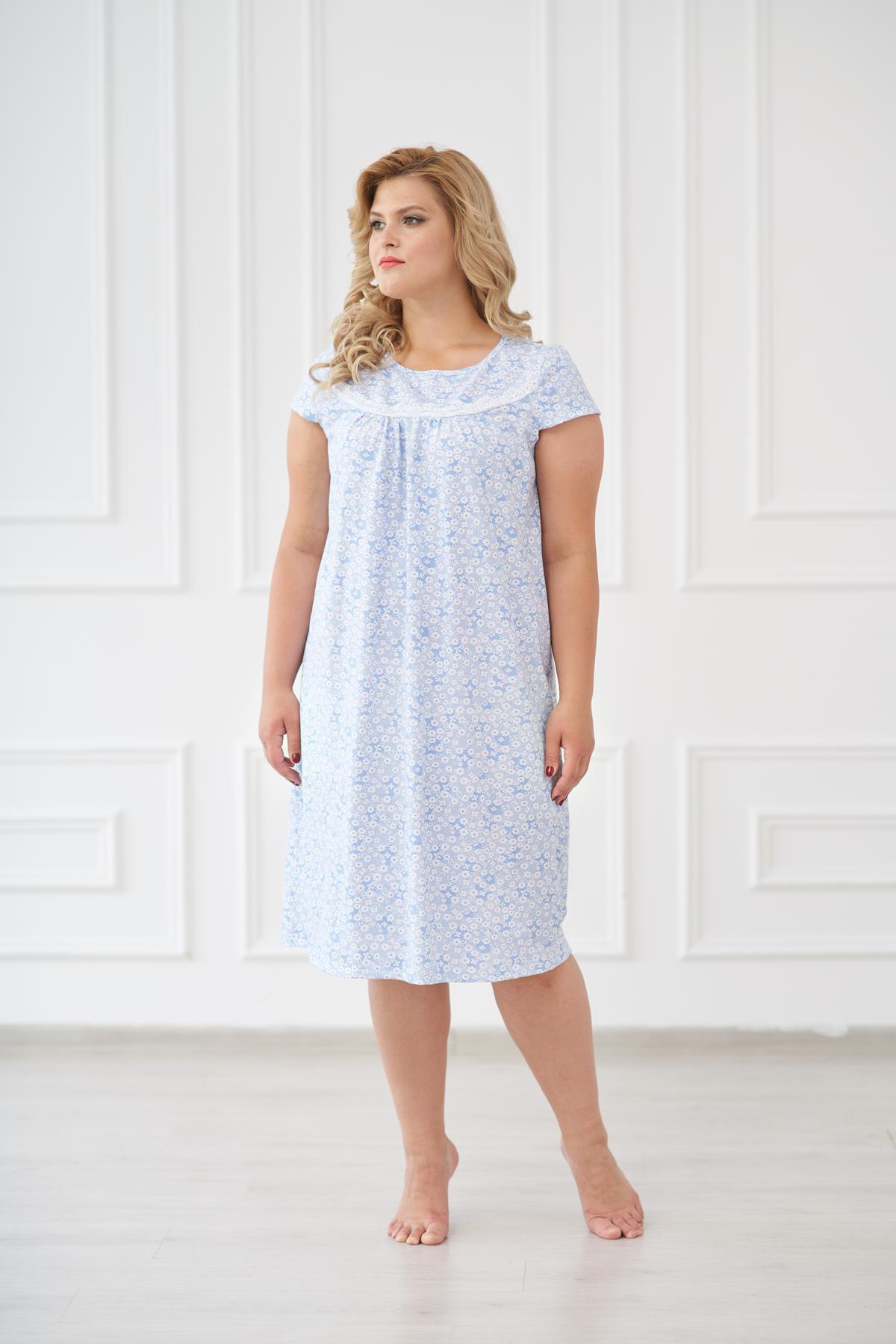 Жен. сорочка арт. 19-0173 Голубой р. 52 Шарлиз