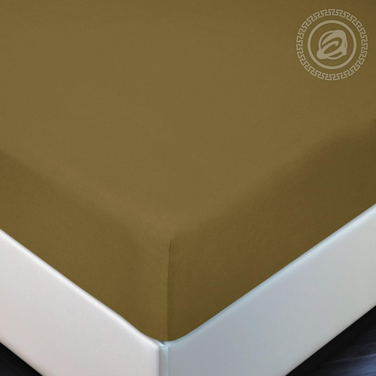 """Простыня на резинке """"Горчица"""" р. 160х200 — Горчица"""