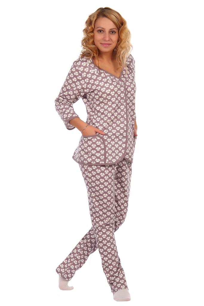 Жен. пижама арт. 16-0412 Какао р. 50 ЕленаТекс