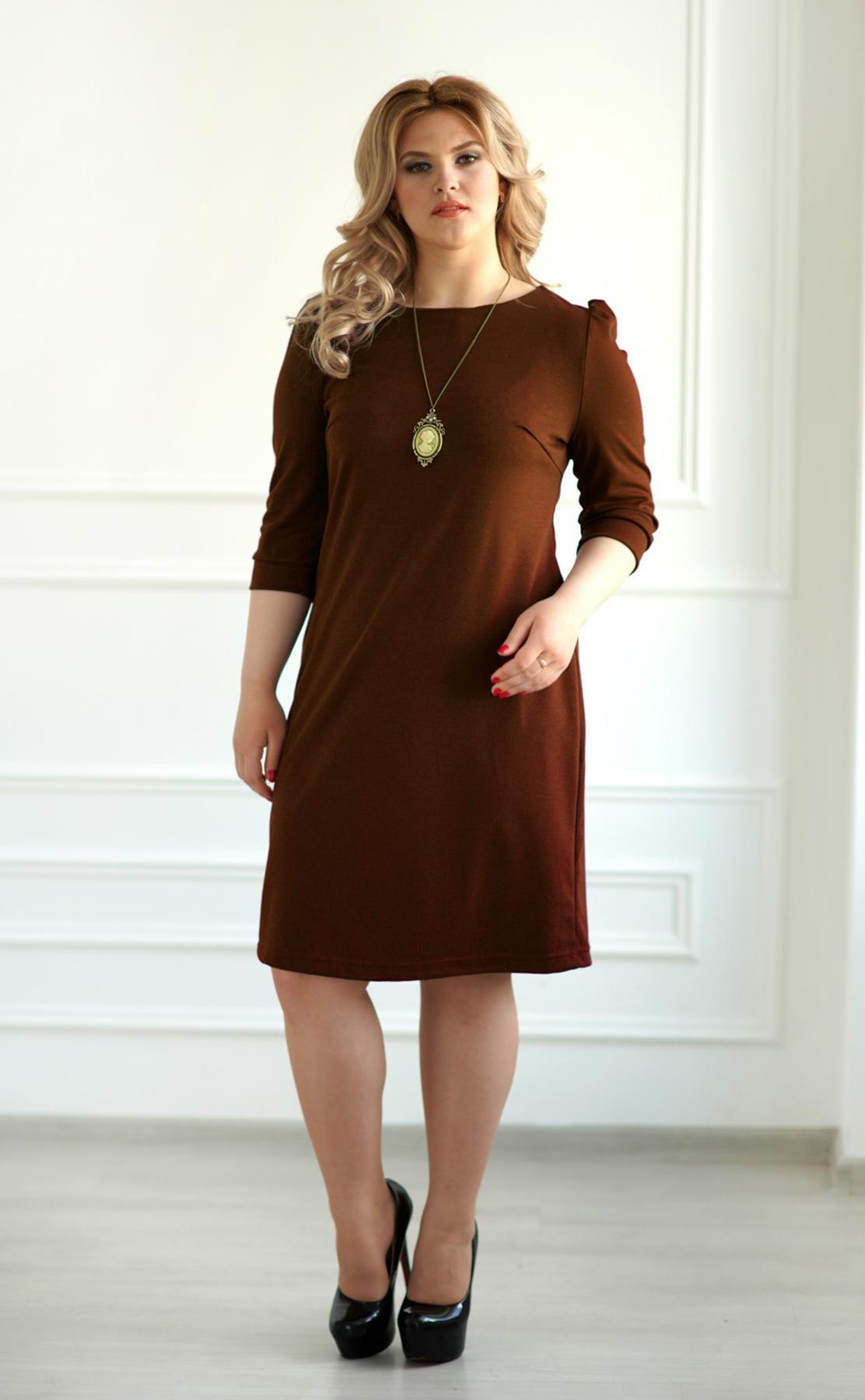 Жен. платье арт. 19-0069 шоколадный р. 50