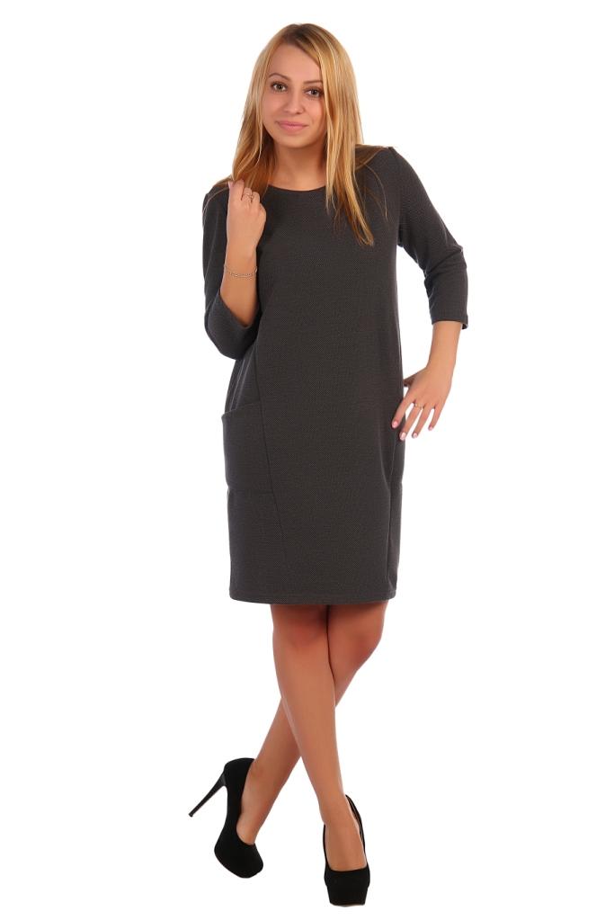 Жен. платье арт. 16-0421 антрацит р. 52