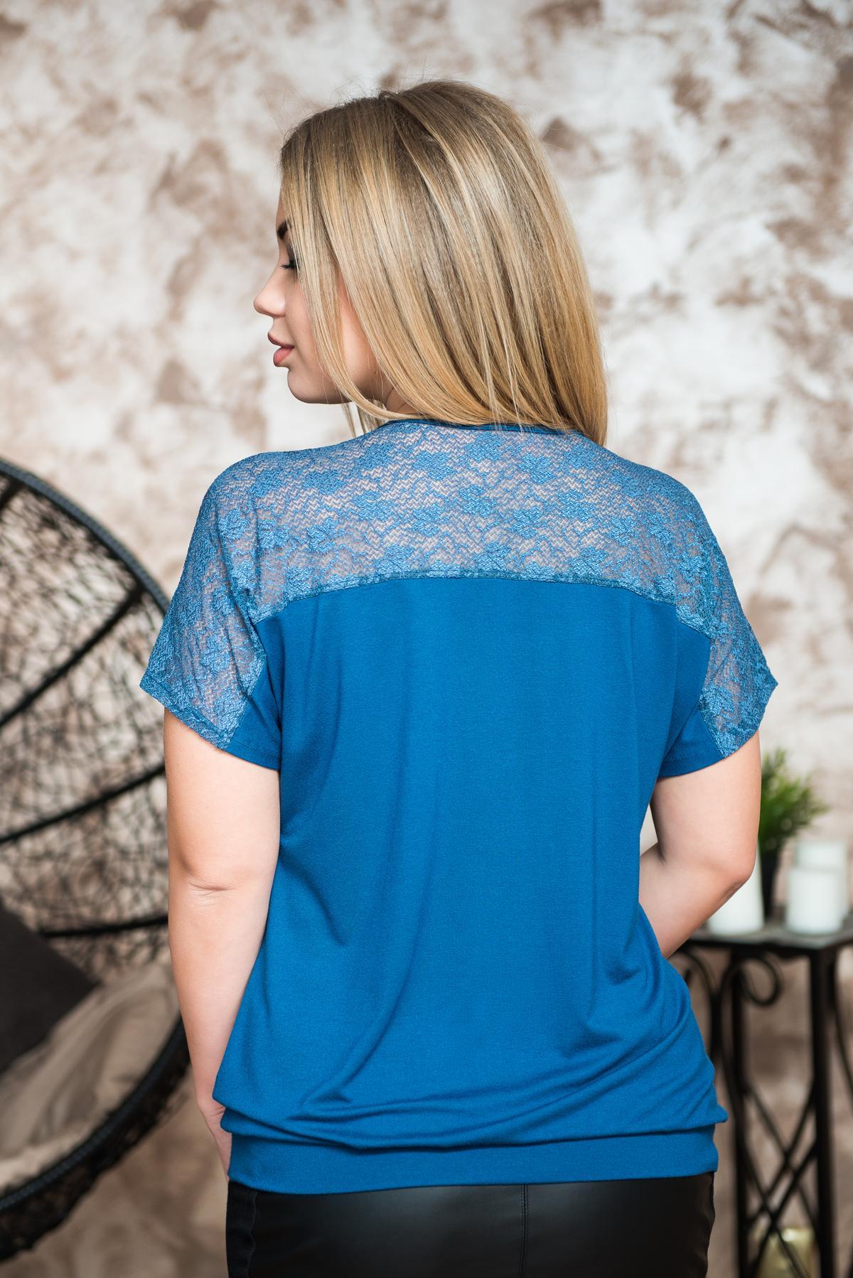 Жен. блуза арт. 19-0228 индиго р.