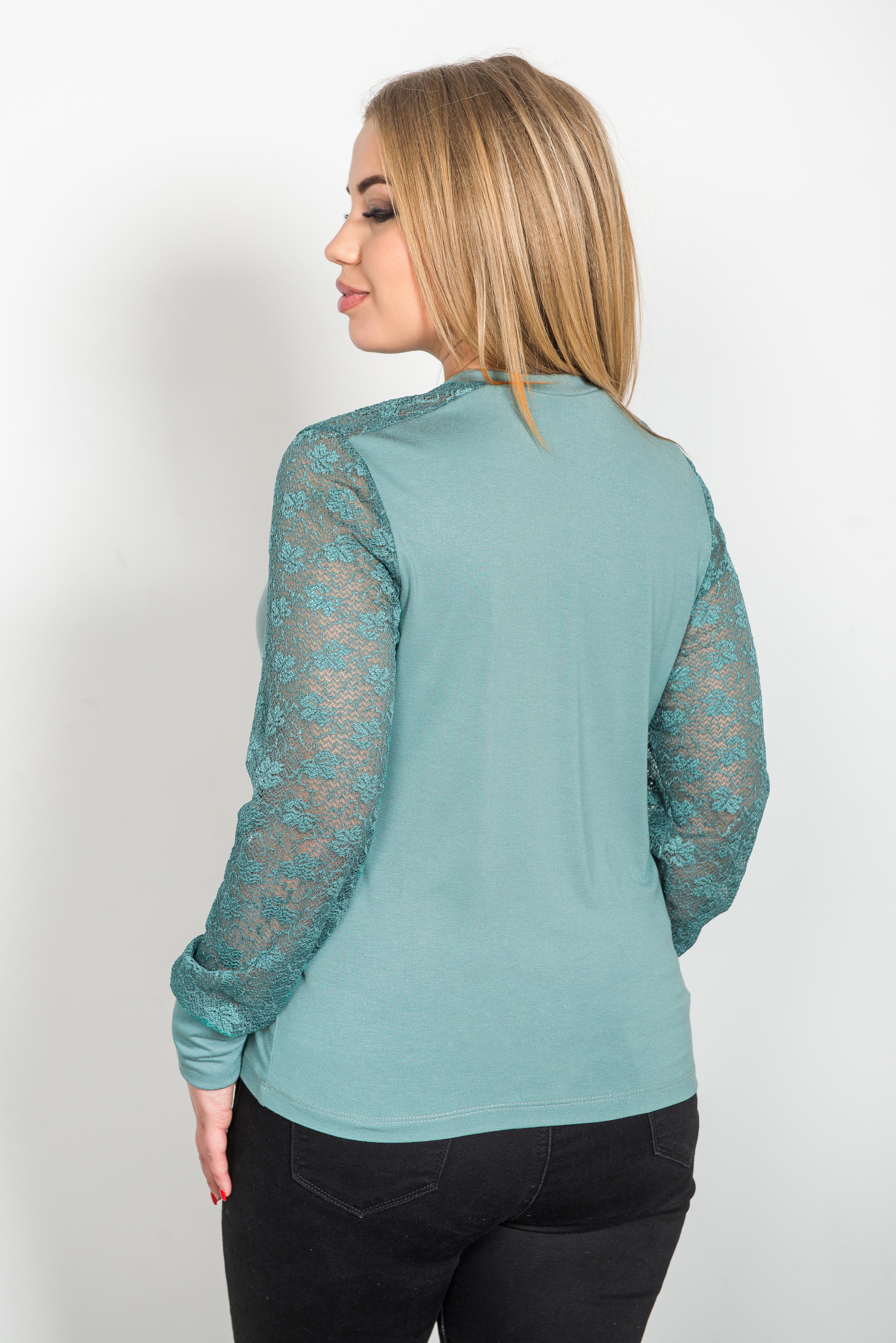 Жен. блуза арт. 19-0230 пепельная мята р. 48