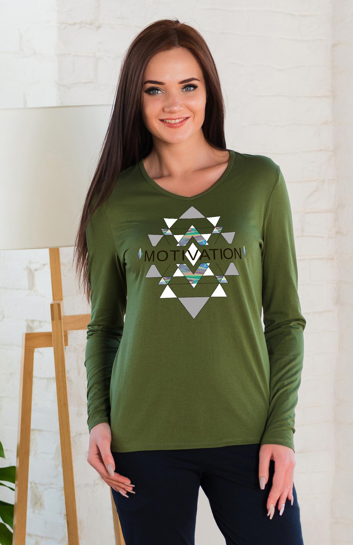 Жен. блуза арт. 19-0261 оливковый р.