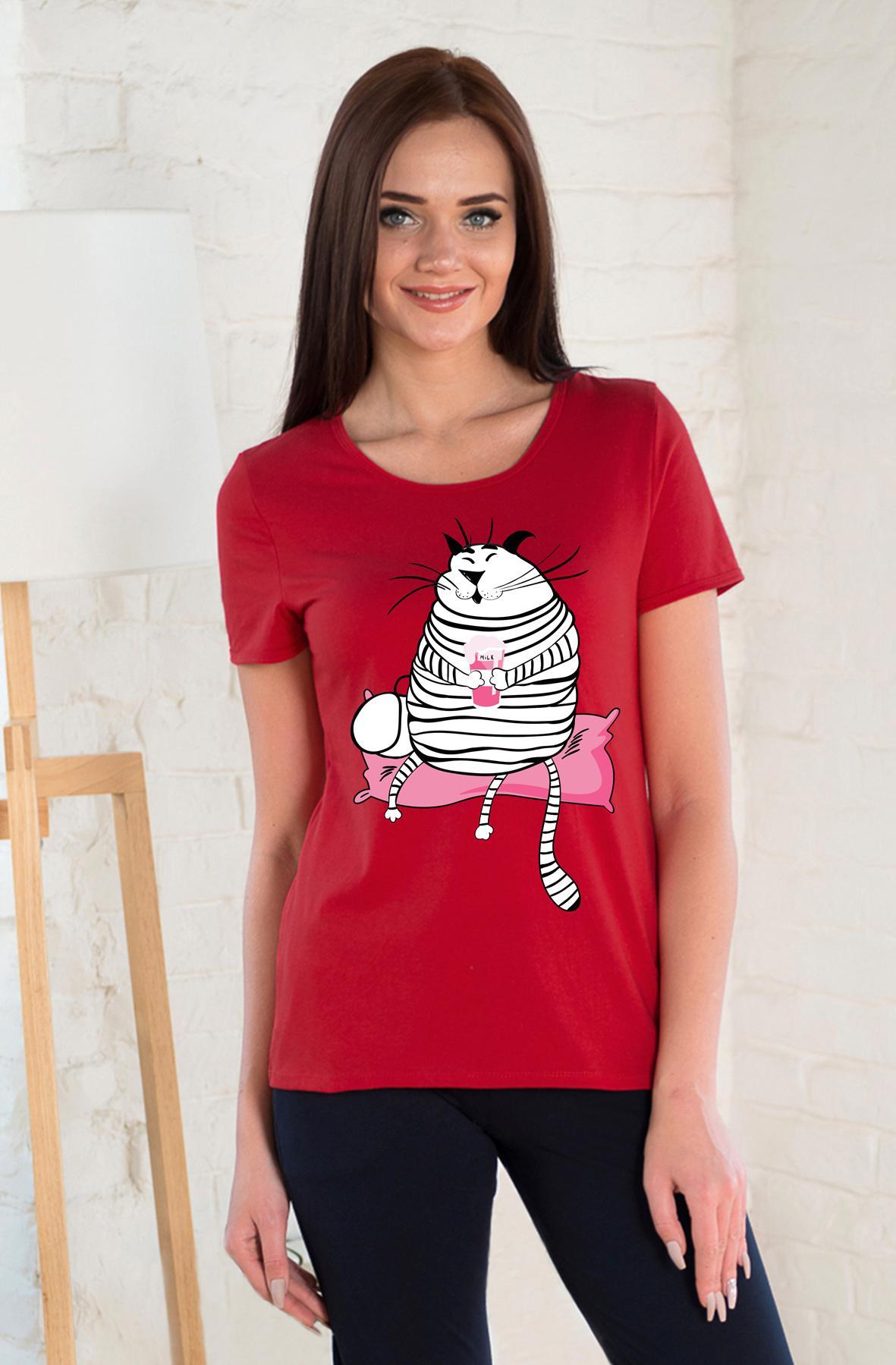 Жен. футболка арт. 19-0262 красный р.