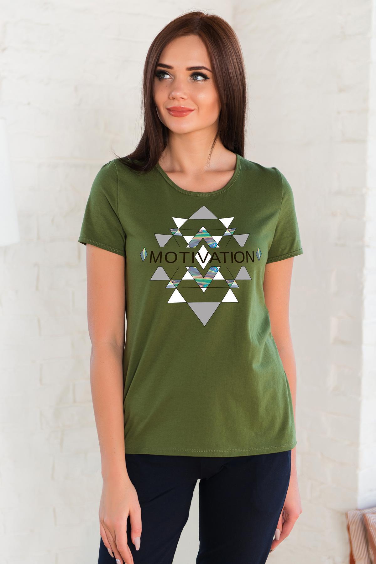 Жен. футболка арт. 19-0262 оливковый р. 44