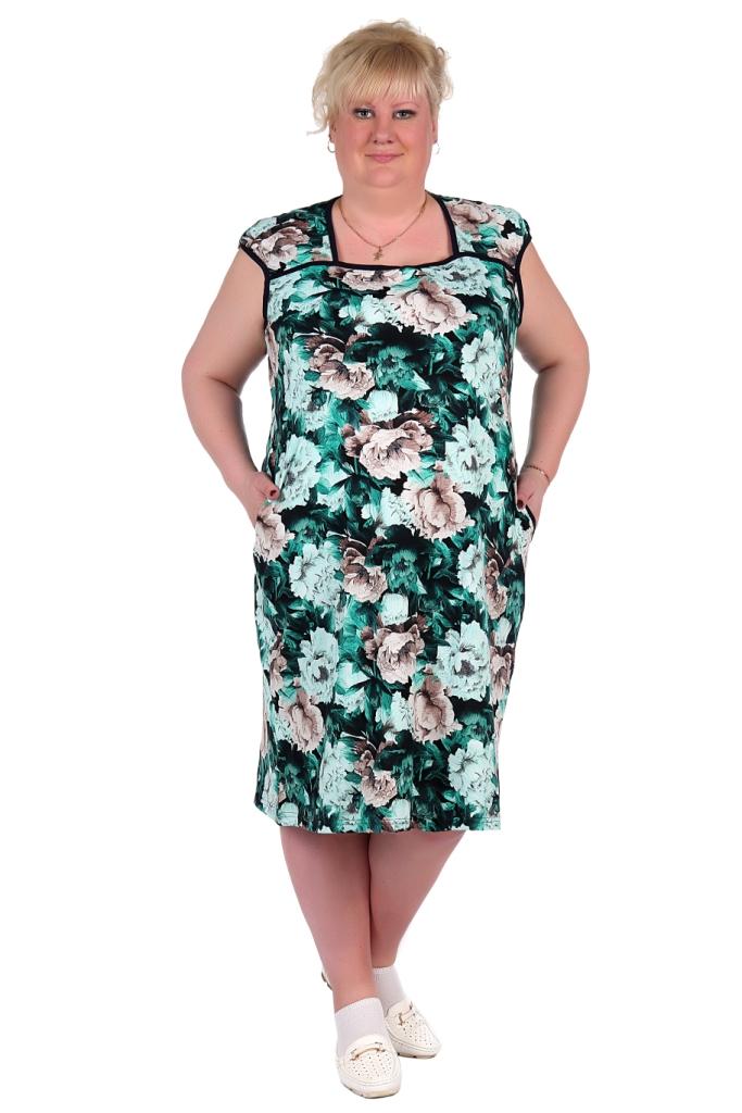Жен. платье арт. 16-0324 зеленый р. 62