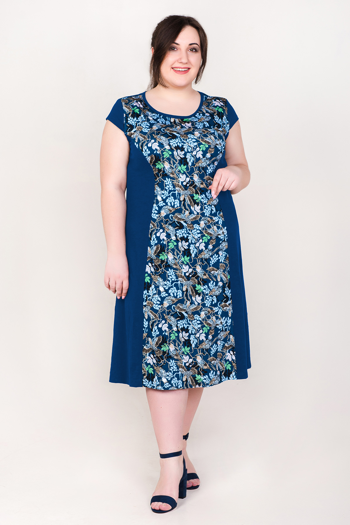 Жен. платье арт. 19-0278 Индиго р. 50 фото