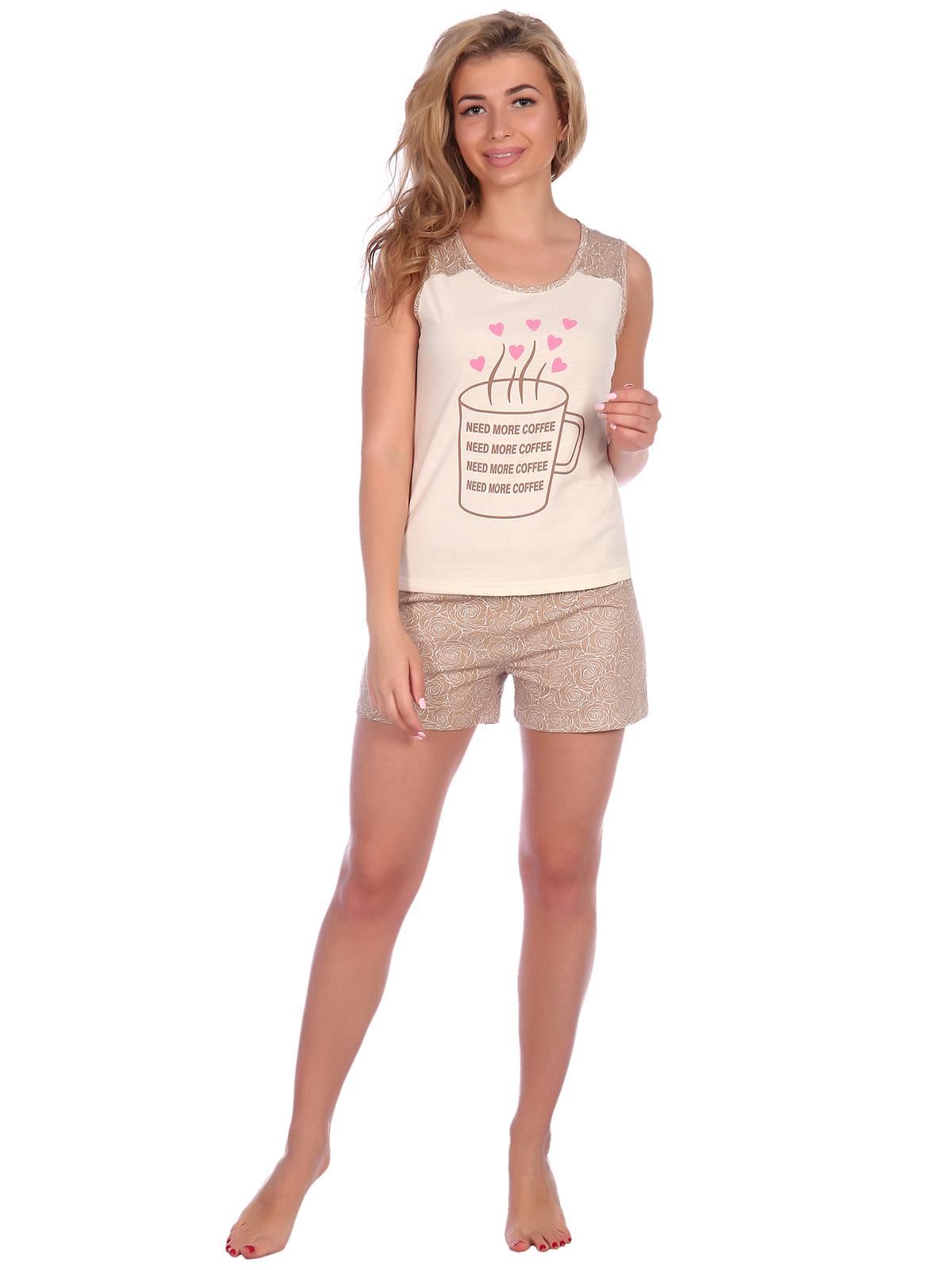 Жен. пижама арт. 16-0574 Бежевый р. 42 НСД Трикотаж
