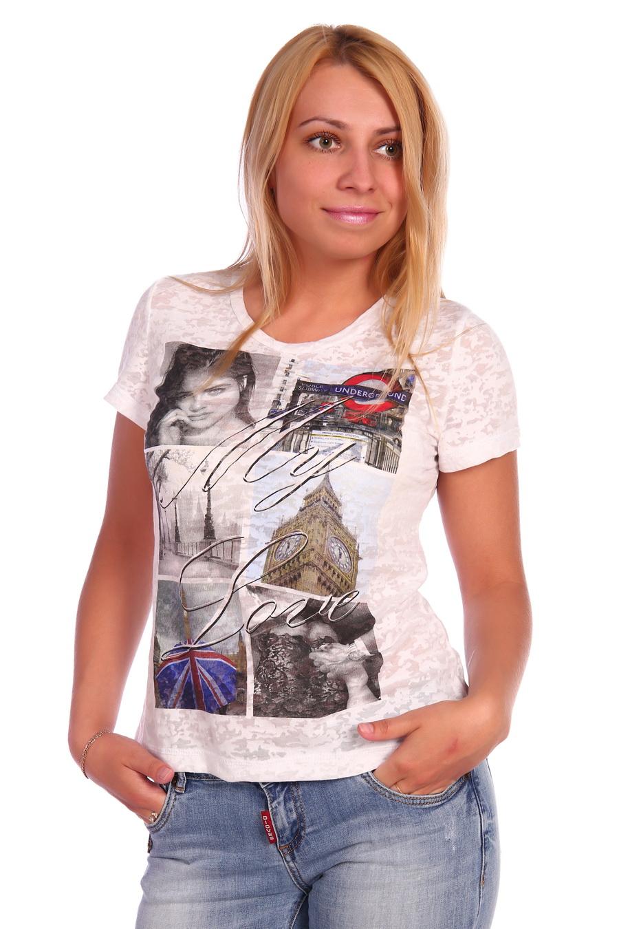 Жен. футболка арт. 17-0026 Белый р. 44 фото