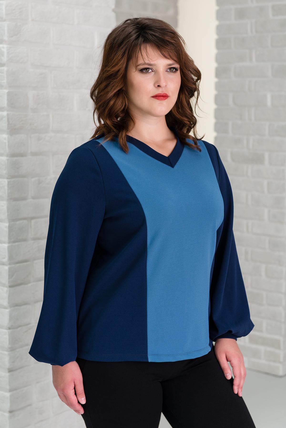 Жен. блуза арт. 19-0321 Синий р. 48 фото