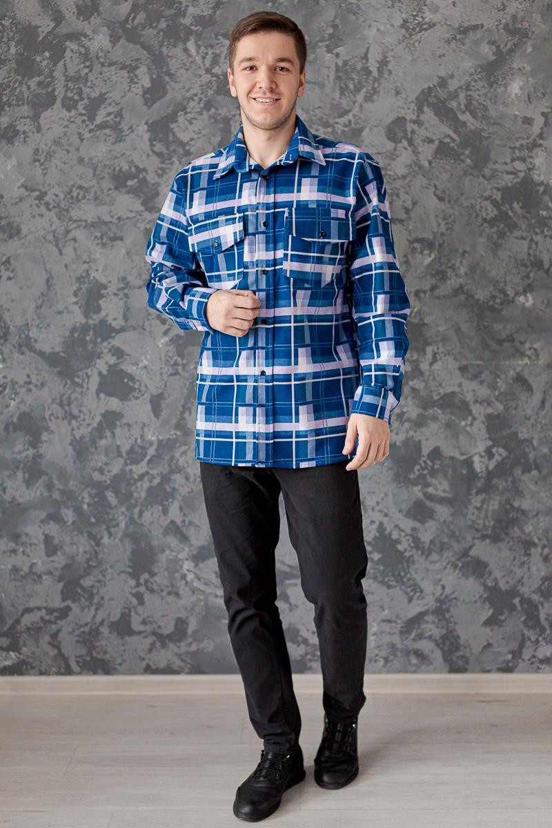 Муж. рубашка арт. 18-0465 Синий р. 64 фото