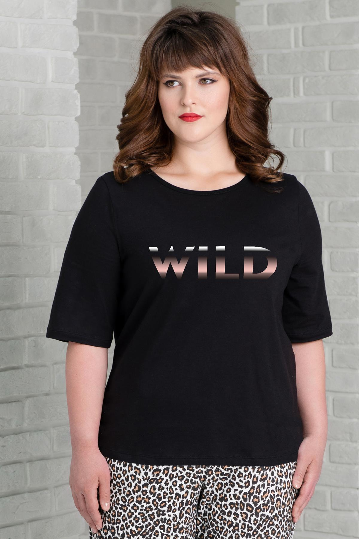 Жен. футболка арт. 19-0350 Черный р. 46 фото