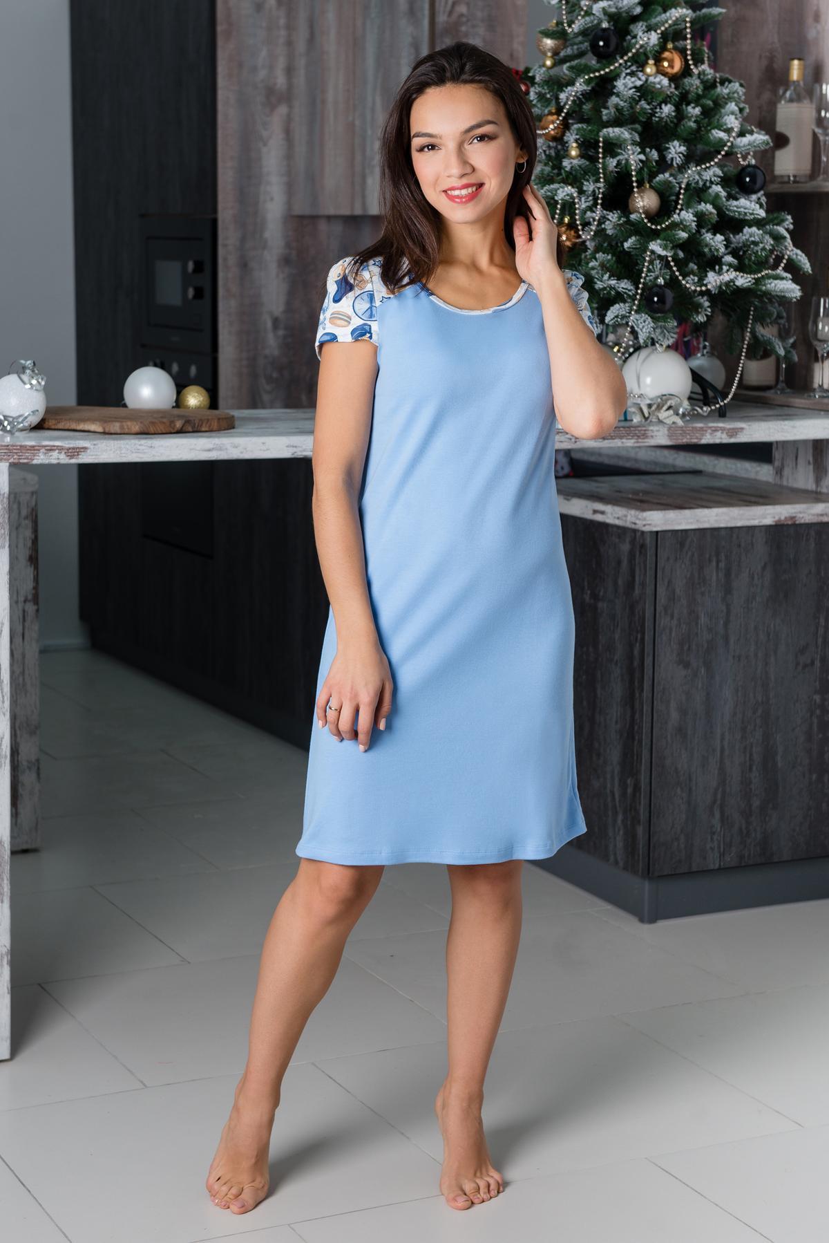 Жен. сорочка арт. 19-0221 Голубой р. 44 Шарлиз