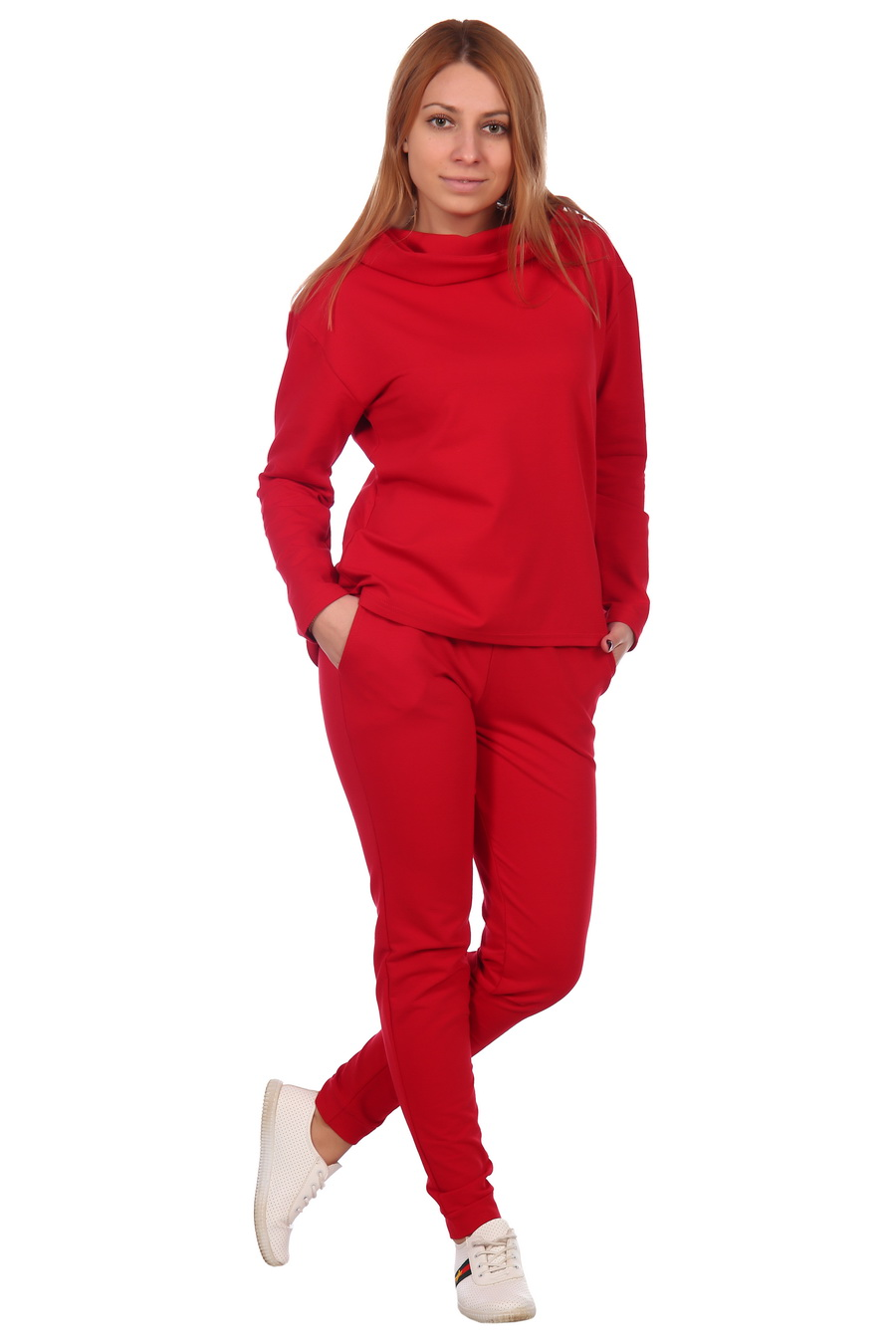 Жен. костюм арт. 17-0074 Красный р. 46 ЕленаТекс