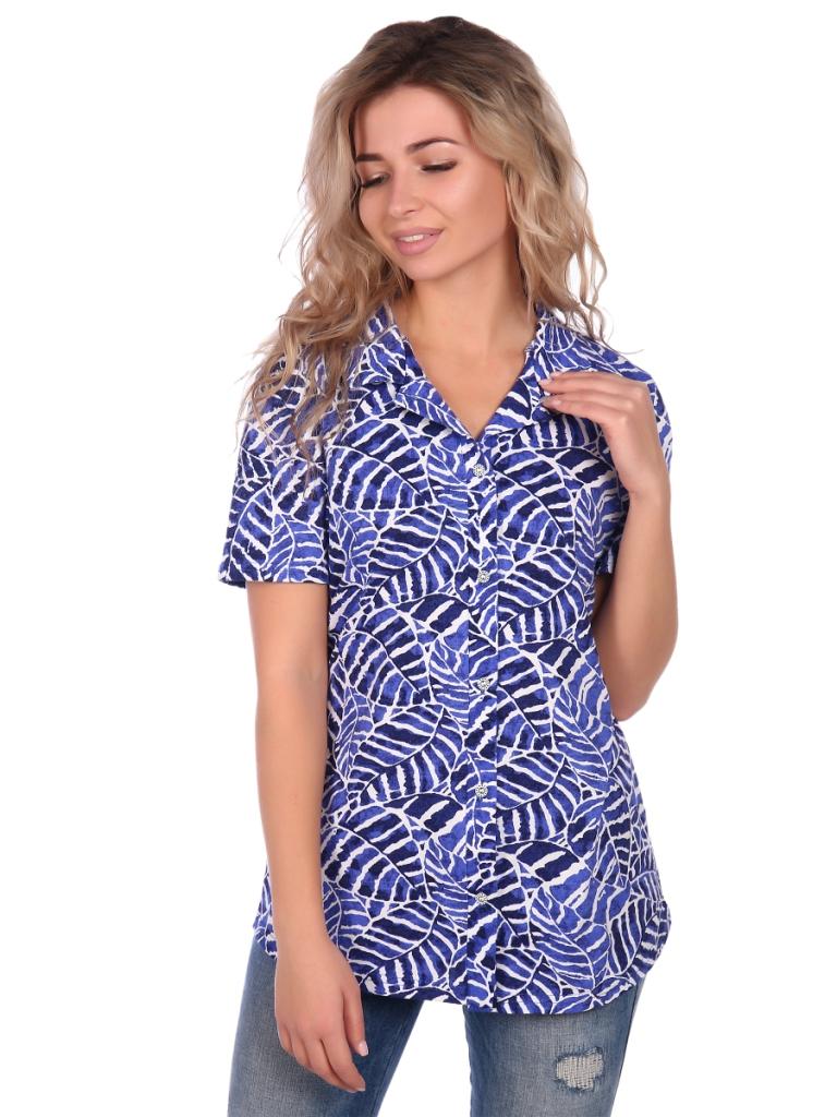 Жен. блузка арт. 16-0656 Синий р. 56 фото