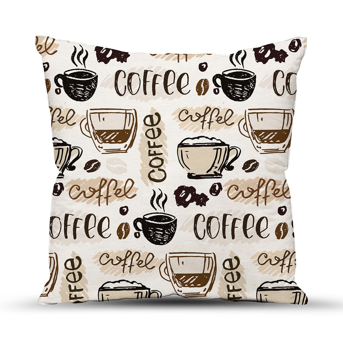 """Подушка """"Чашка кофе"""" Бежевый р. 40х40 — Чашка кофе Бежевый"""