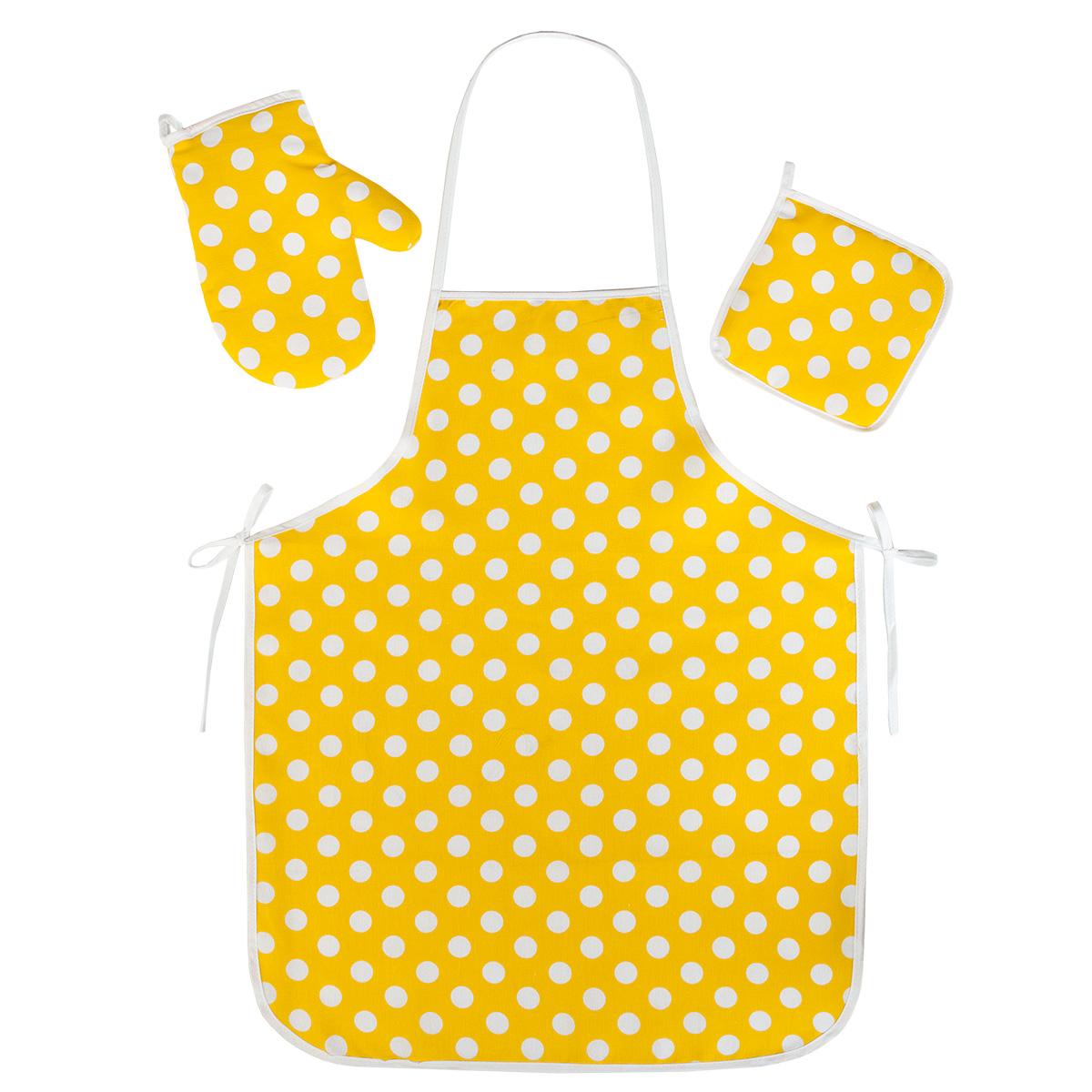 """Кухонные принадлежности """"Горошек"""" Желтый р. 3 пред. — Горошек Желтый"""