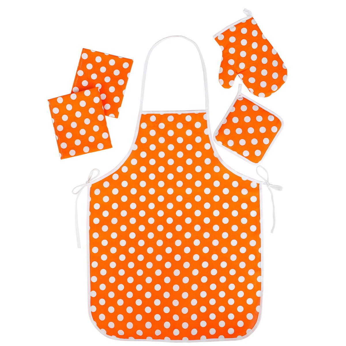"""Кухонные принадлежности """"Горошек"""" Оранжевый р. 5 пред. — Горошек Оранжевый"""