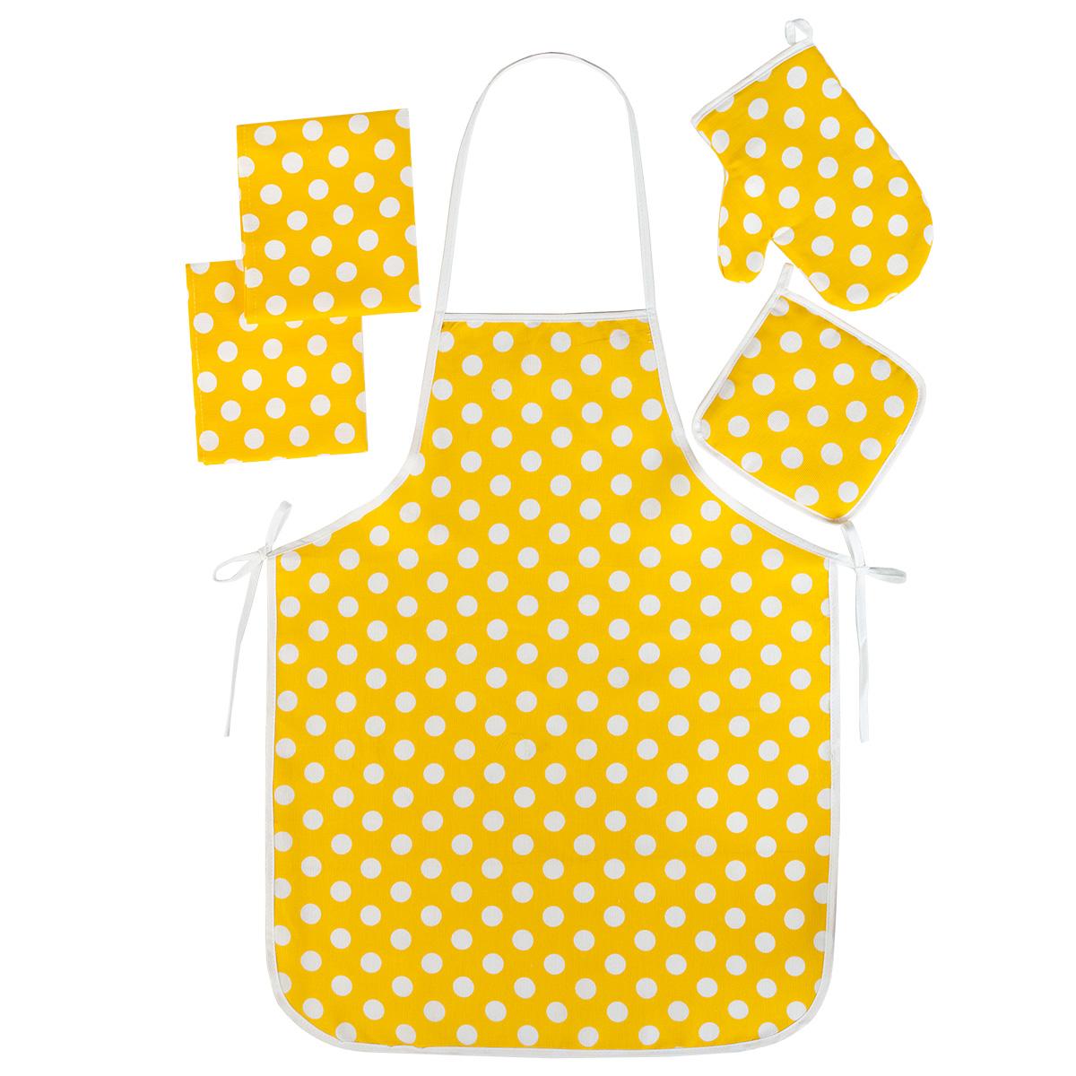 """Кухонные принадлежности """"Горошек"""" Желтый р. 5 пред. — Горошек Желтый"""