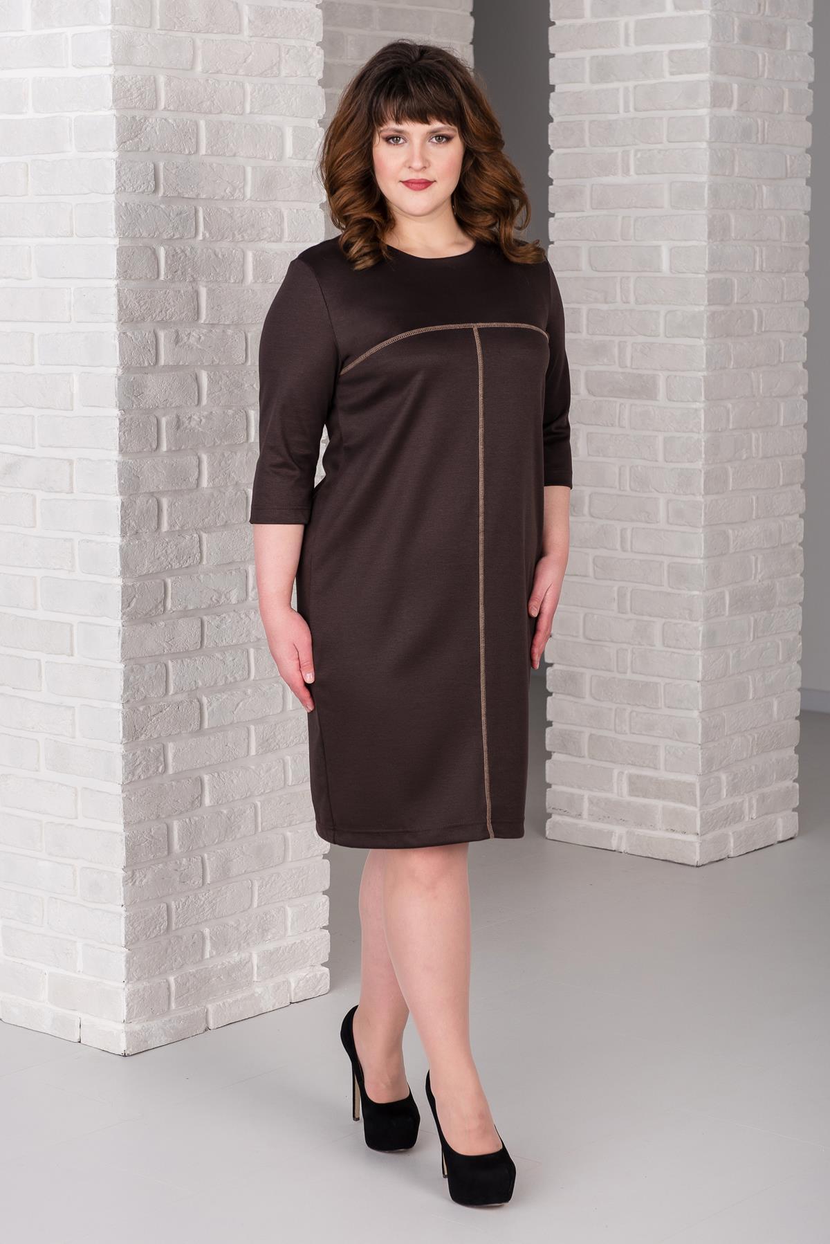 Жен. платье арт. 19-0389 Шоколадный р. 46 фото