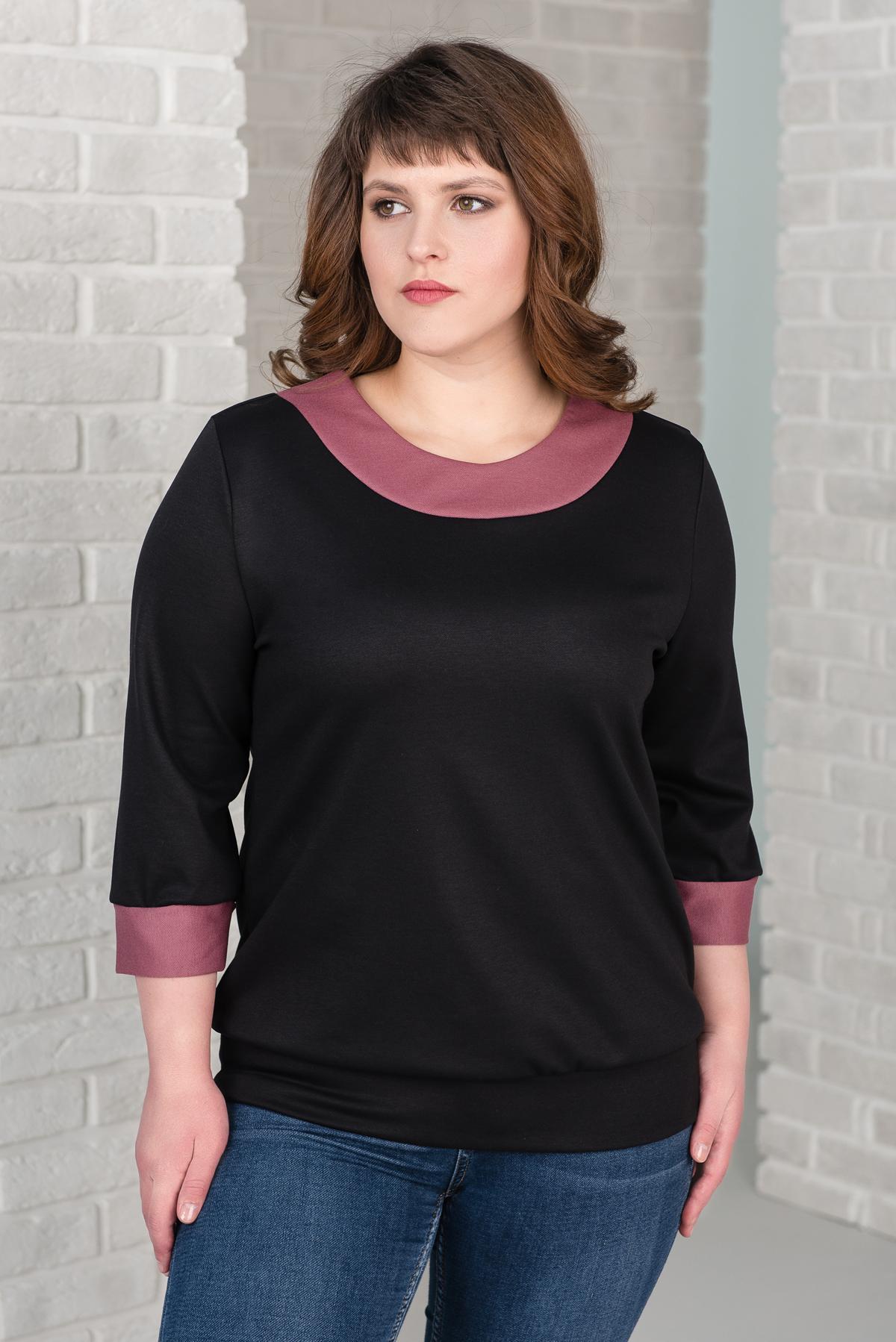 Жен. блуза арт. 19-0387 Черный р. 50 фото