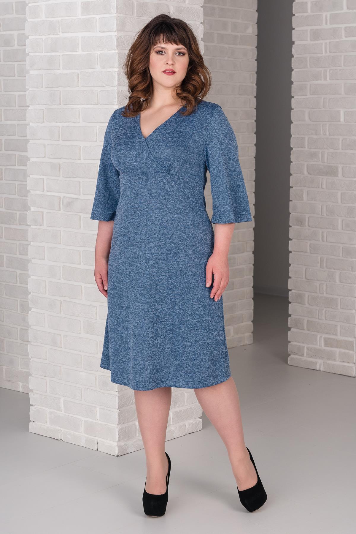 Жен. платье арт. 19-0377 Голубой р. 52 фото