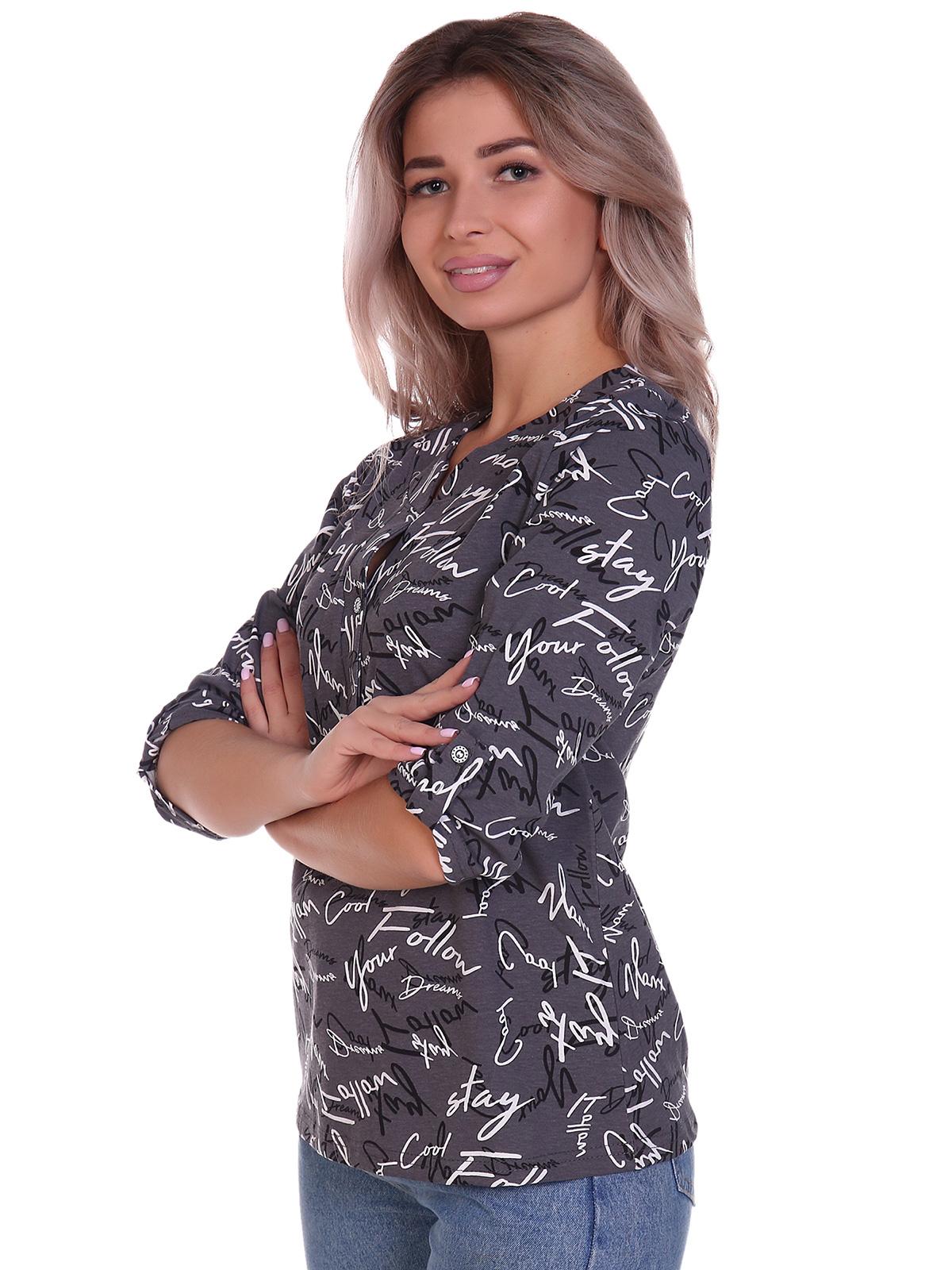 Жен. блузка арт. 16-0706 Серый р. 64