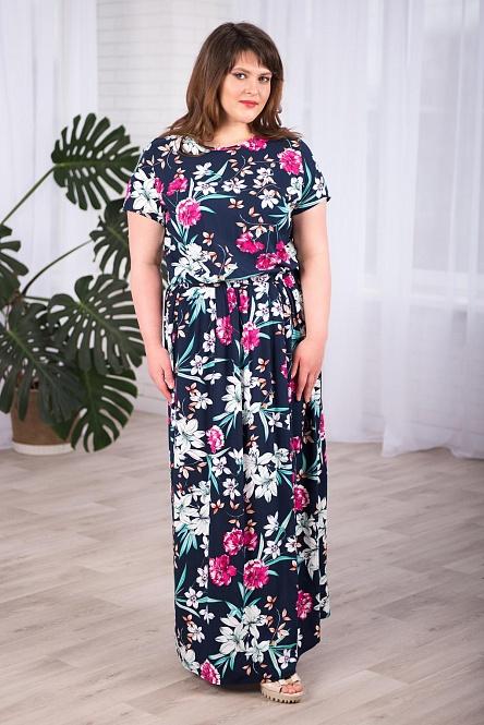 Жен. платье арт. 19-0410 Синий р. 52 Шарлиз