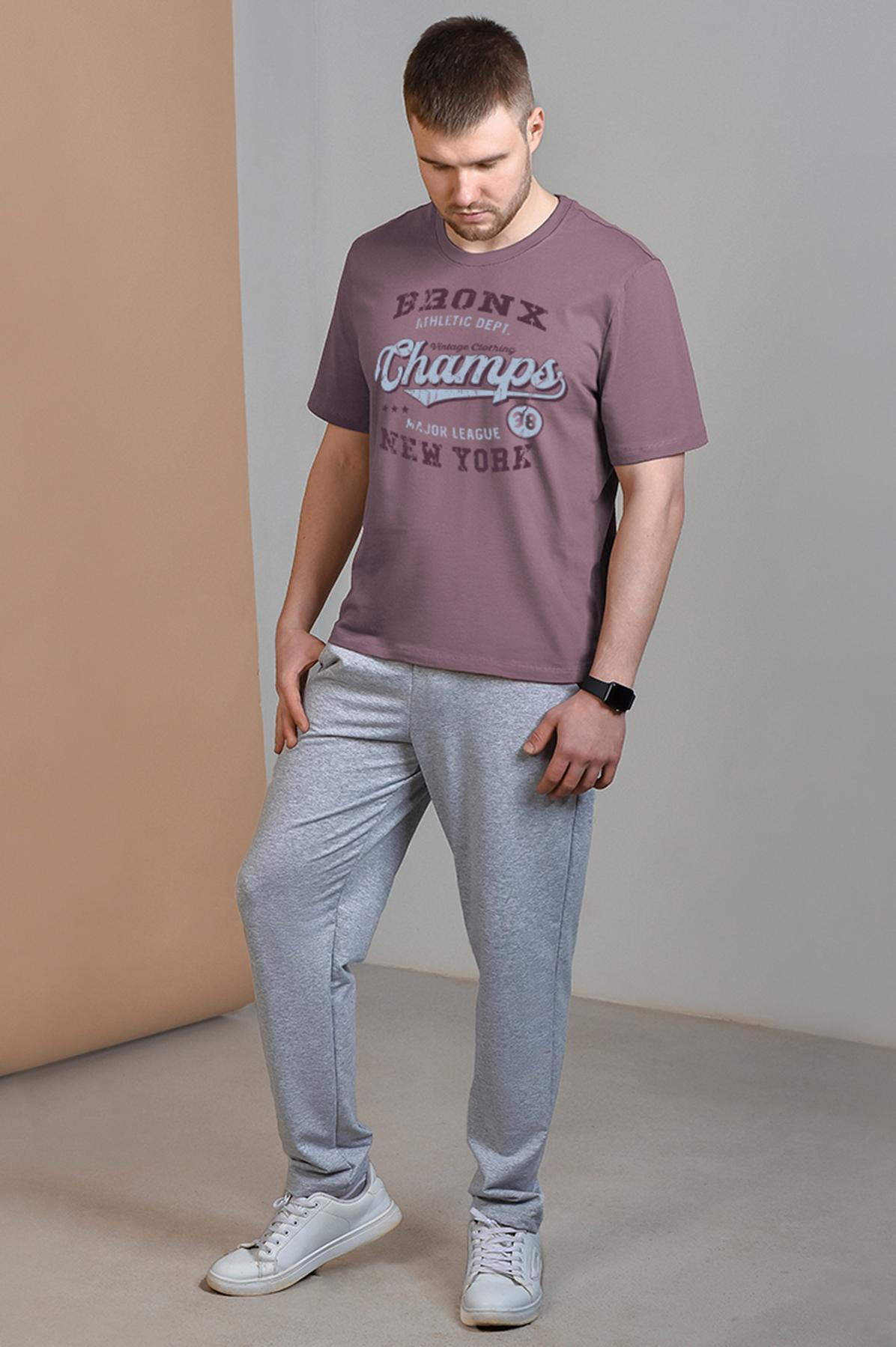 Муж. брюки арт. 19-0421 Серый меланж р. 56 фото