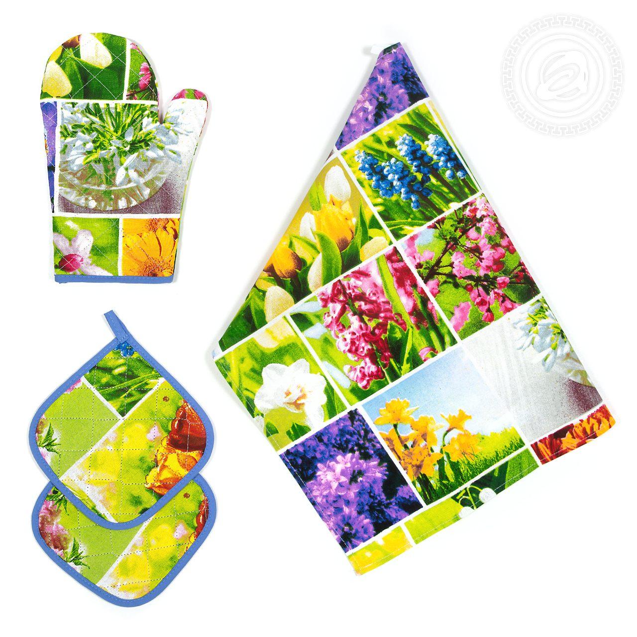 """Кухонные принадлежности """"Первоцветы"""" Зеленый р. 4 пред. — Первоцветы Зеленый"""