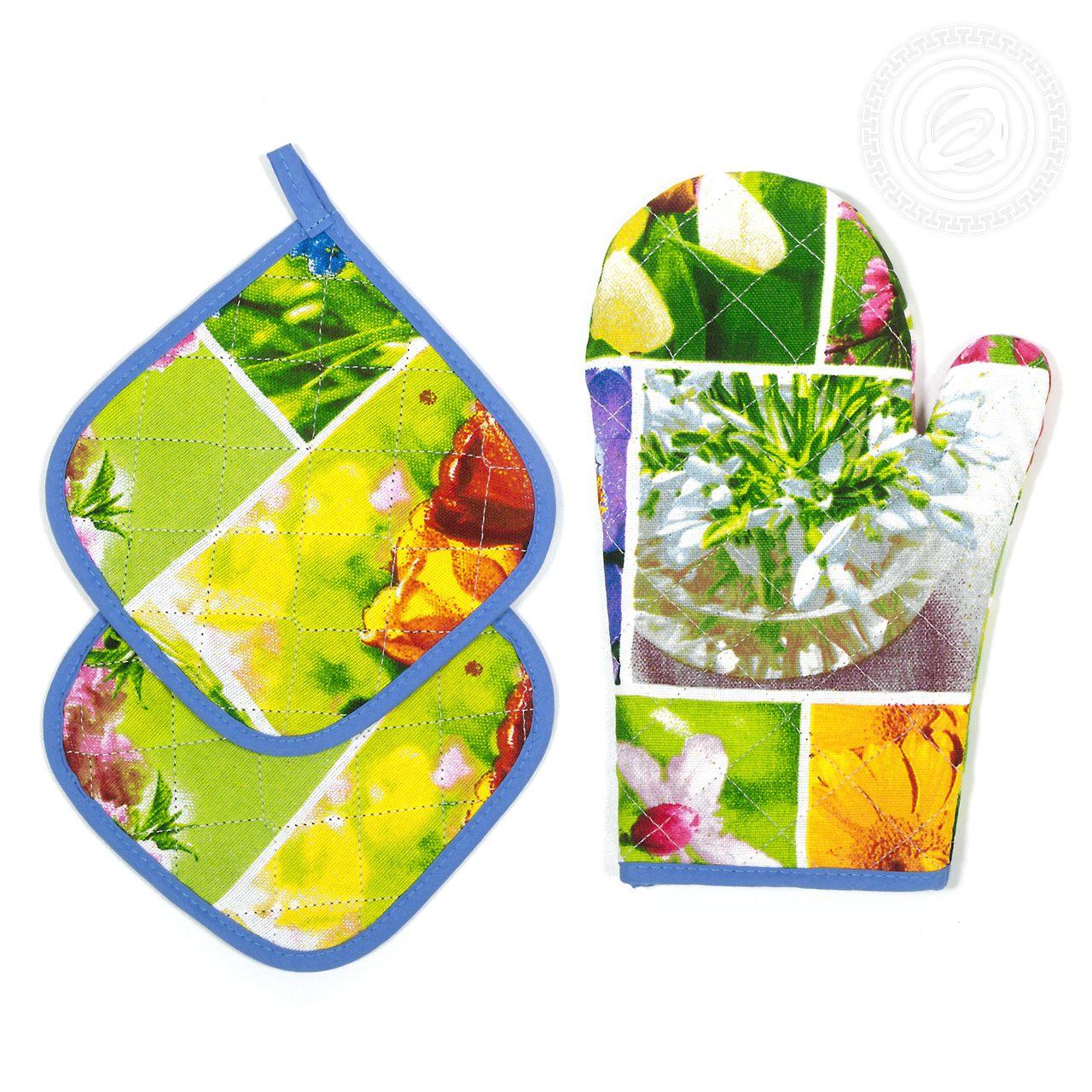 """Кухонные принадлежности """"Первоцветы"""" Зеленый р. 3 пред. — Первоцветы Зеленый"""