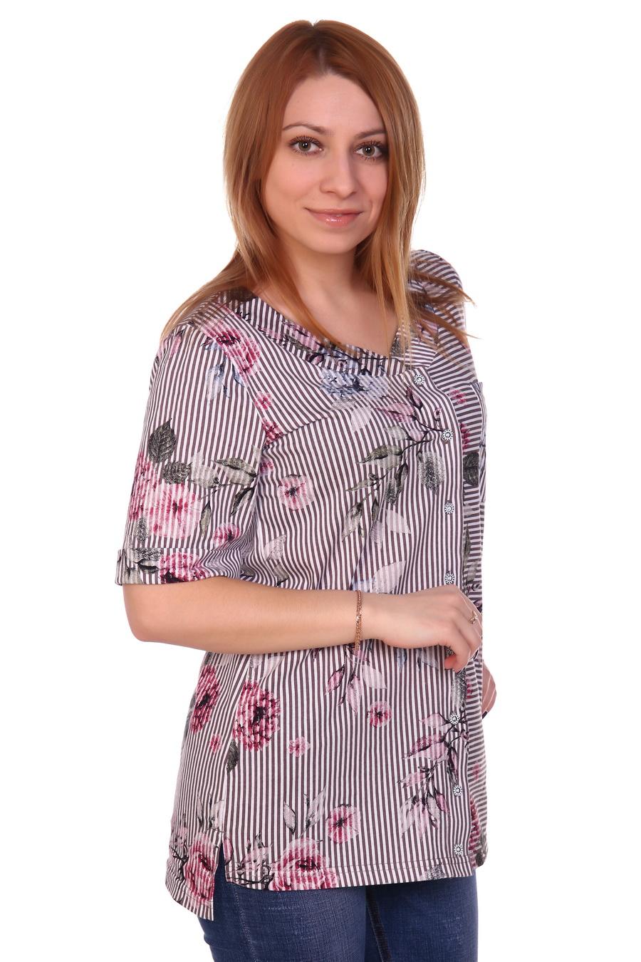 Жен. блузка арт. 17-0121 Кофейный р. 50