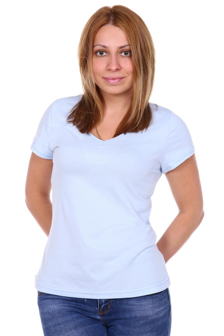 Жен. футболка арт. 17-0144 Голубой р. 46